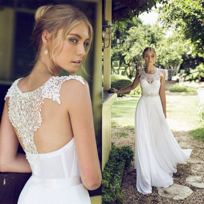 Beach Chiffon Sleeveless Courtn Train  Glamorous Summer Lace Wedding Dress_3