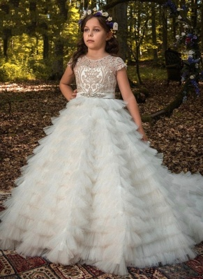 Jewel Short Sleeves Tiered Bottom Princess Flower Girl Dresses