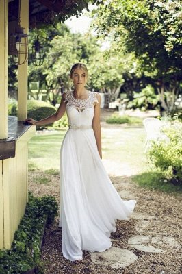 Beach Chiffon Sleeveless Courtn Train  Glamorous Summer Lace Wedding Dress_2