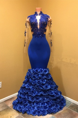 High Neck Mermaid Prom Dress, Flowers Prom Dress BA8227