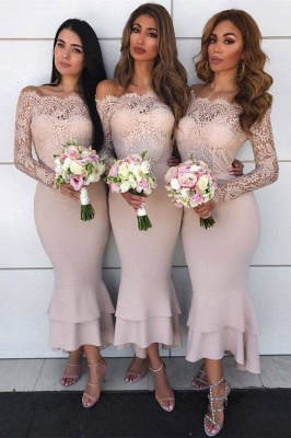 Long Sleeves Tea Length Lace Mermaid Sexy Bridesmaid Dresses  | Affordable Maid of Honor Dresses_1