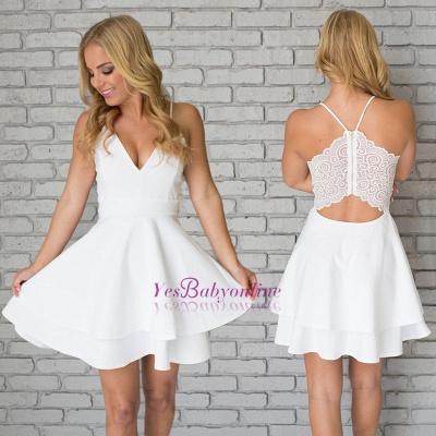 White Homecoming Dresses Spaghettis Straps Layers Skirt A-line Short Prom Dresses_1