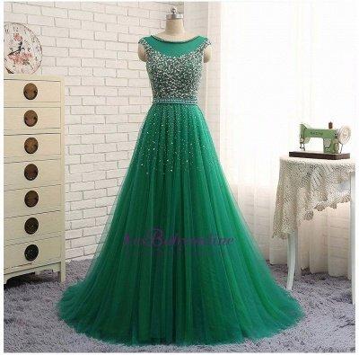 Green Sleeveless A-Line Beaded Brilliant Scoop  Prom Dresses_1
