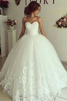 Sweetheart Glamorous Appliques Ball-Gown Wedding Dresses_2
