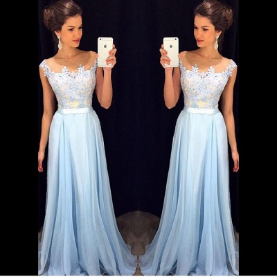 Appliques A-line Long Prom Dresses   Cap Sleeves Evening Gowns with Sash_3