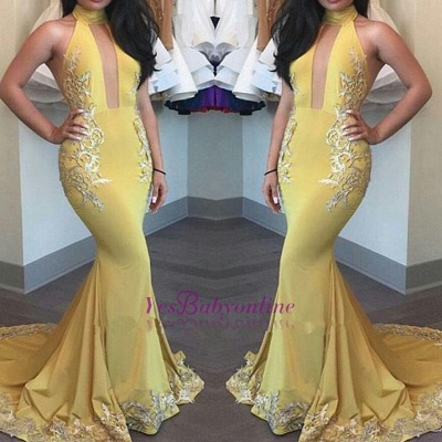 High-Neck Yellow Beautiful Appliques Keyhole Mermaid Evening Dress_1