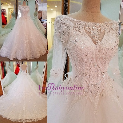 Long Sleevess Sequins A-line Lace Sweep Train Wedding Dress_1