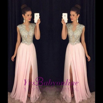 2019 Long Front-Slit Pink Beaded A-line Crystals luxury Prom Dresses_1