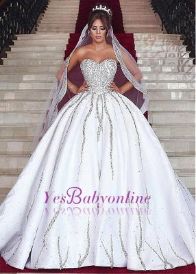 Sweetheart Ball Wedding Sleeveless Beading Dresses Gown Brilliant Bridal Gowns_1