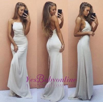 Backless Mermaid Sleeveless White Spaghetti-Strap Sexy Prom Dress_1