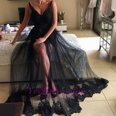 V-Neck Long Lace Sexy Black Prom Dresses | Sparkly Evening Dresses_1