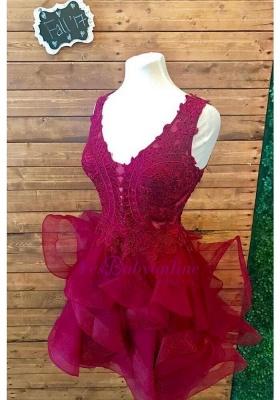 Modest Straps Ruffles Lace Sleeveless Short Homecoming Dress_2