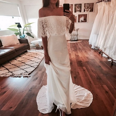Chic Off-the-Shoulder Wedding Dresses | Glamorous Mermaid Long Bridal Gowns_5
