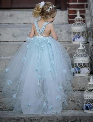 Jewel Sleeveless Light Blue Fairy Cute Flower Girl Dresses_3