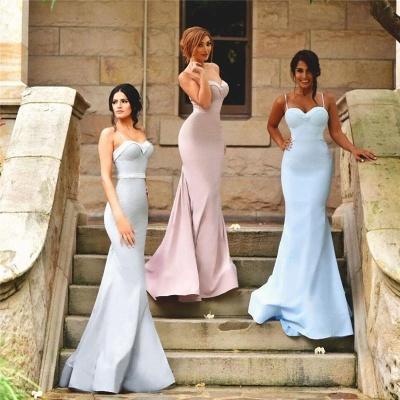 Zipper Mermaid Sleeveless Spaghetti-Strap Elegant Bridesmaid Dress_3