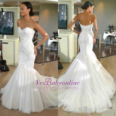 Sleeves Tulle Strapless Sweep-train Lace Mermaid Wedding Dress_1
