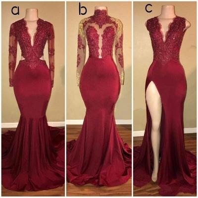 Mermaid Sweep Train Evening Dresses   Luxury Lace Appliques Long Prom Dresses_1