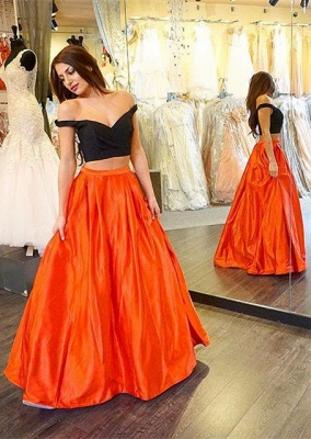 Long A-line Two-Piece Off-the-shoulder Sexy Prom Dress_2