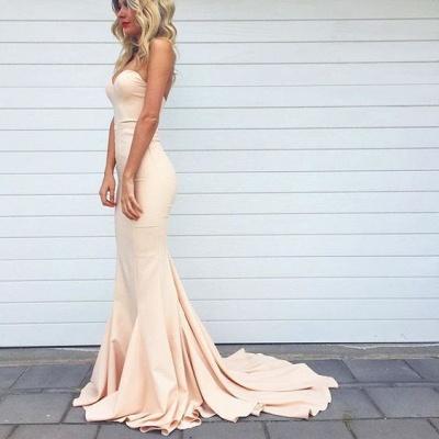 Simple Nude Mermaid Sleeveless Long Sweetheart-Neck Prom Dresses_3