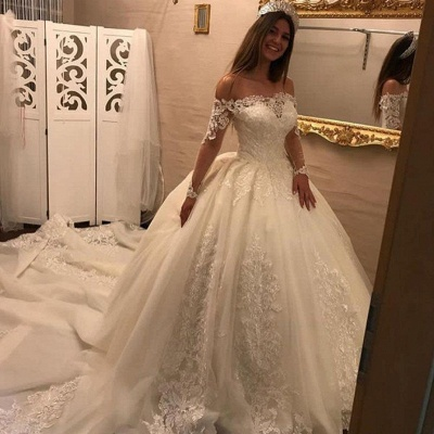 Off-the-shoulder Lace Appliques Wedding Dresses | Ball Gown Long Sleeves Bridal Gowns_3