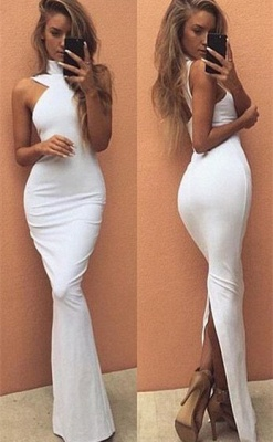2019 White Mermaid Prom Dress High Neck Back Slit Simple Evening Dresses_3
