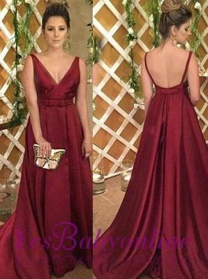 Burgundy Satin V-Neck Backless Sleeveless Evening Dress_3