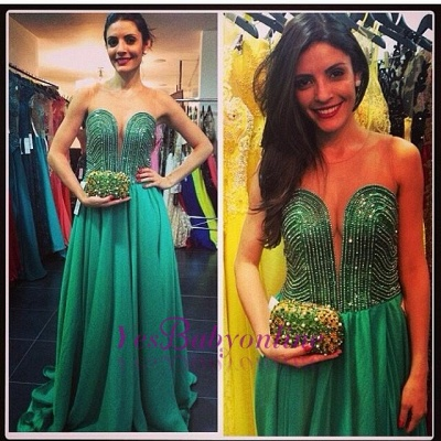 Green Sweetheart Sweep Beading A-line Train Evening Gown_1