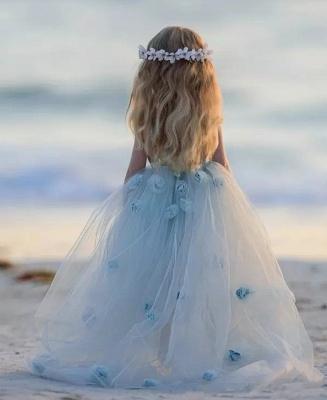 Jewel Sleeveless Light Blue Fairy Cute Flower Girl Dresses_6
