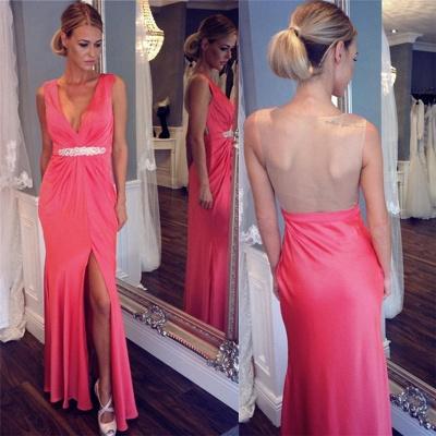 Sexy V-neck Back Evening Dresses | Sheer  Sleeveless Prom Dresses_3
