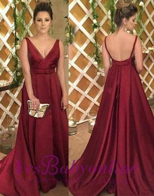 Burgundy Satin V-Neck Backless Sleeveless Evening Dress_1