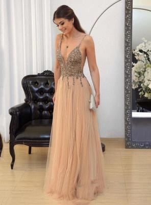 Floor-length Straps Sexy Spaghetti Long Prom Dresses_2