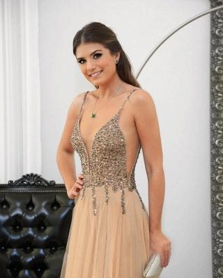 Floor-length Straps Sexy Spaghetti Long Prom Dresses_3