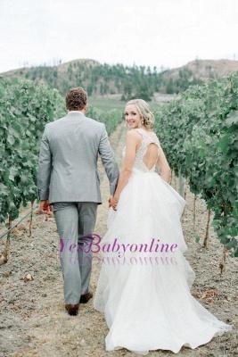 Cap-Sleeve  Straps Mesh Modern Beaded Wedding Dress_1