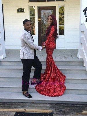 Mermaid Long-Sleeves Long Shiny V-Neck Red Prom Dresses_3