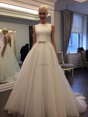 Glamorous Jewel Backless Sleeveless A-line Lace Wedding Dress_1