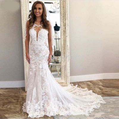 Sexy Straps Jewel V Back Applique Lace Mermaid Wedding Dresses_3