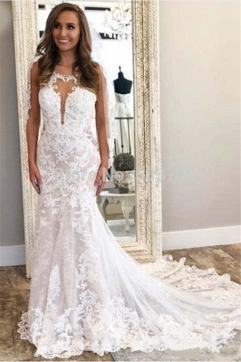 Sexy Straps Jewel V Back Applique Lace Mermaid Wedding Dresses