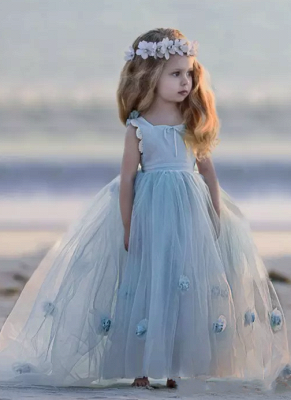 Jewel Sleeveless Light Blue Fairy Cute Flower Girl Dresses