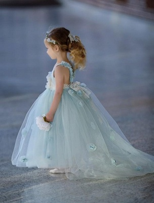 Jewel Sleeveless Light Blue Fairy Cute Flower Girl Dresses_4