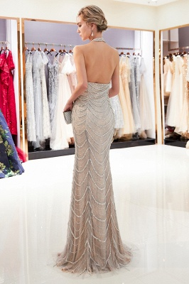 Mermaid Halter Sleeveless Sequined Long Prom Dress | 2019 Evening Dress_3