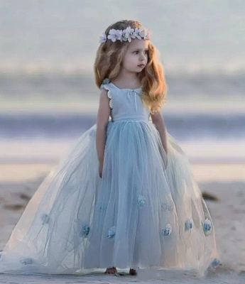 Jewel Sleeveless Light Blue Fairy Cute Flower Girl Dresses_5