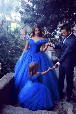 Off-the-Shoulder Royal-Blue Mesh Floor-Length Lovely Flower-Girl Dress_3