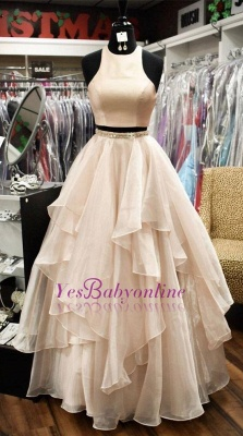 Chic Sleeveless Jewel A-Line Two-Pieces Tiered Prom Dresses_1