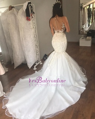 Glamorous Mermaid Buttons Lace Sleeveless Long Wedding Dress_1