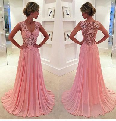 Pink  Prom Dresses 2019 Sheer Lace Applique Top V Neck Long Elegant Evening Gowns_3
