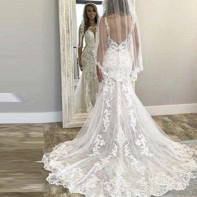 Sexy Straps Jewel V Back Applique Lace Mermaid Wedding Dresses_2