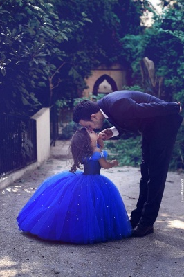 Off-the-Shoulder Royal-Blue Mesh Floor-Length Lovely Flower-Girl Dress_2