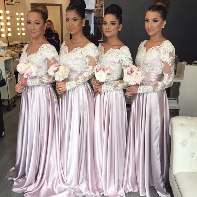 Popular Elegant White-Lace Long-Sleeve V-neck Pink Bridesmaid Dress_3
