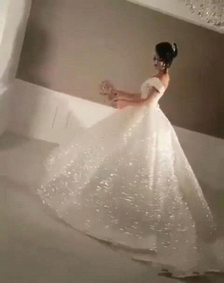 Glittery Ball Gown Wedding Dresses | Off-the-Shoulder Bridal Gowns_5