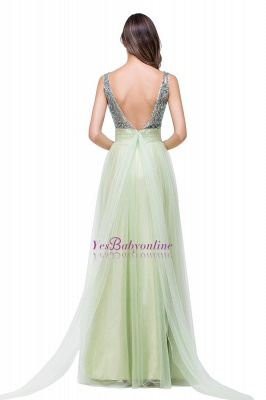 Scoop-Neckline Long Crystal A-line Charming Sleevless  Prom-Dress_1